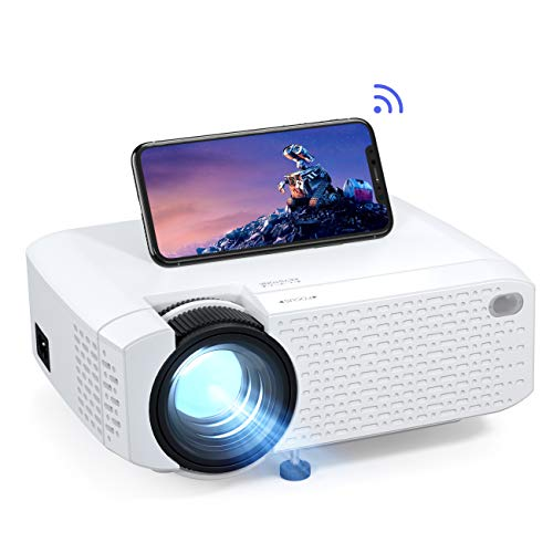 Crosstour Proyector Wi-Fi, Mini Proyector Portátil para Smartphone, Cine en Casa Inalámbrico Soporte Full HD, Pantalla Grande LED, Compatible con Android iPhone Movil iPad HDMI USB TV Stick
