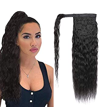 Ponytail Extension Magic Paste Human Hair Afro Corn Wave Ponytail for Women Human Hair Natural Black Color Brazilian Virgin Human Hair Ponytail Remy Hair Extensions 20 Inch 130g