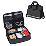 CURMIO Medical Equipment Bag with Padded Laptop Sleeve and 2 Detachable Transparent Compartment, Portable Nursing Supplies Bag for Nurses, Family Community Health Care Professionals,Black
