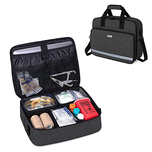 CURMIO Nursing Bags for Nurses Home Health, Small Medical Supplies Bag with 2 Detachable Transparent Pouches for Home Visits, Health Care, Hospice, Black (Patented Design)