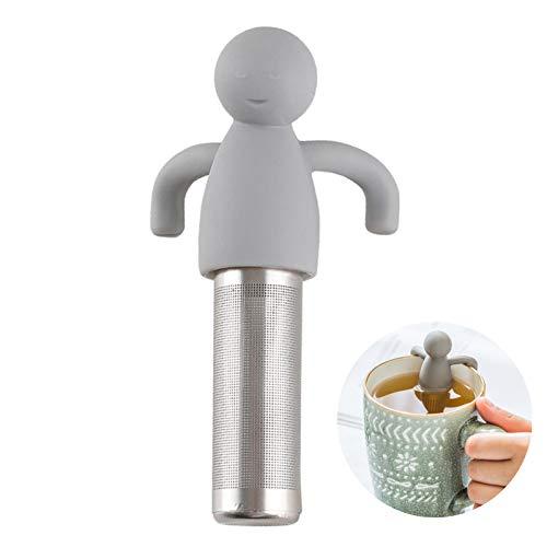 Leden Tea Infuser for Loose Leaf Tea Cute Tea Strainer Ball Stainless Steel Extra Fine Mesh Tea Steeper Filter for Cup Mug Silicone Handle Grey