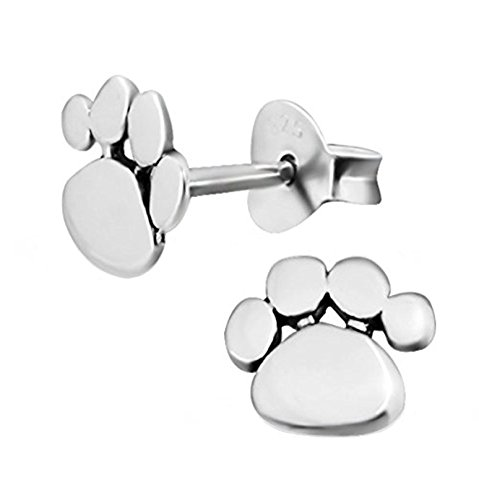 Dog Paw Print Earrings, Sterling Silver Gift