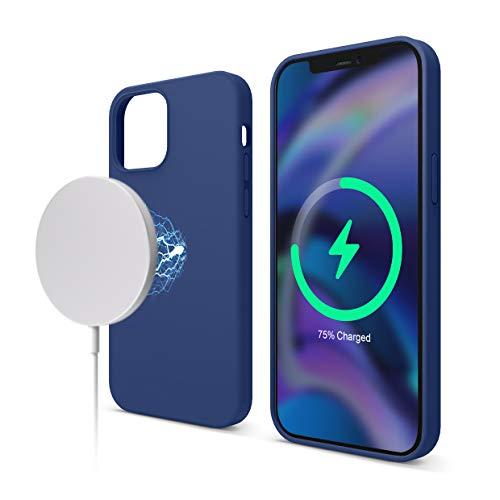 elago Magnetic Silikon-Hülle Hülle Kompatibel mit iPhone 12 & Kompatibel mit iPhone 12 Pro 6,1 Zoll - Eingebaute Magnete, Kompatibel mit MagSafe Zubehör (Marineblau)