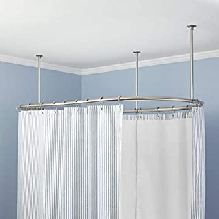 Signature Hardware 264783 48 X 36 Oval Solid Brass Ceiling Mounted Shower Curtain Rod