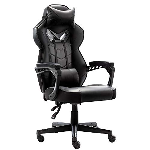 Bonzy Home Gaming Chair Office Chair High Back Computer Chair PU Leather Desk Chair PC Racing Executive Ergonomic Adjustable Swivel Task Chair with Headrest and Lumbar Support (Pink)