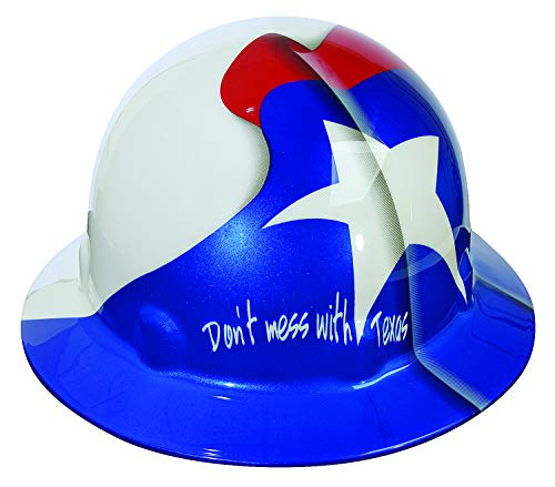 Fibre-Metal by Honeywell SuperEight Thermoplastic Full Brim Hard Hat with 8-Point Ratchet Suspension, Texas Flag Full Graphic