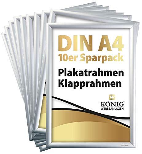 10 Plakatrahmen DIN A4 | 25mm Aluminium Profil, Silber | inkl. entspiegelter Schutzscheibe und Befestigungsmaterial | Alu Klapprahmen Wechselrahmen Posterrahmen | 10er Sparpack | Dreifke®