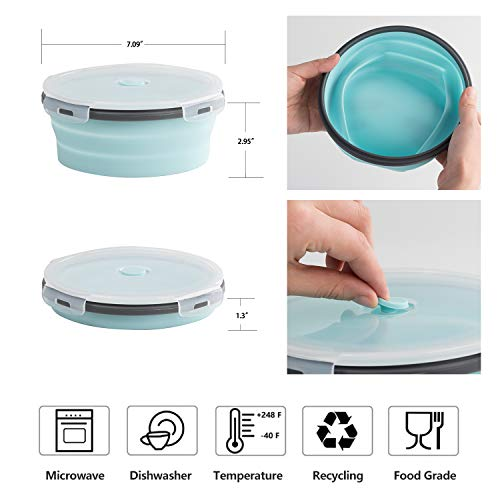 ColorCoral Camping Bowl with Lid Collapsible Silicone Bowl and Foldable Stainless Steel Fork for Travel and Camping Microvave and Fridge Food Storage Bowl from (1200ML)…
