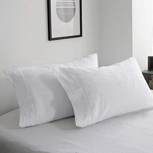 King Linens 100% French Linen Pillowcases with Embroidery - Pack of 2 - Stone Washed Solid Color Natural Flax Soft Breathable - White, 20'' x 40''
