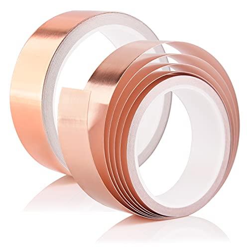 KONUNUS 2 Rollen × 10m × 30mm Kupferband Kupferfolienband EMI Copper, Selbstklebend Abschirmband Kupfer Schneckenschutz Schneckenband Kupferfolie Foil Tape Klebeband Copper