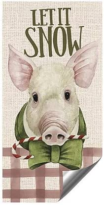 CGSignLab 48x96 Holiday Decor Let it Snow Vintage Pig Heavy-Duty Industrial Self-Adhesive Aluminum Wall Decal
