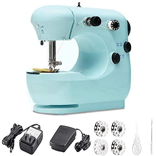 Machine à coudre électrique de ménage avec kits de couture, couture facile, cadeau idéal pour les enfants et les débutants avec pédale, 2 vitesses et double sélection de fil, coupe-fil