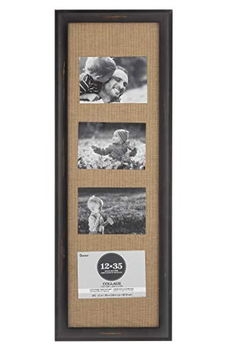 Darice Float Collage Frame with Burlap: Distressed, 12 x 30 Inches, Gunmetal