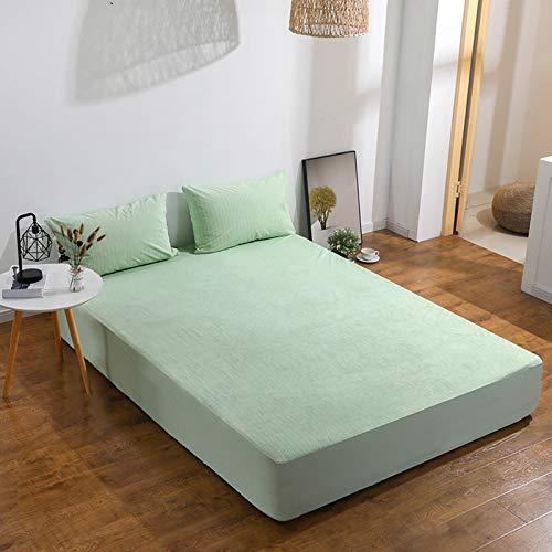 haiba Juego de cama doble con bolsillo extra profundo y protector de colchón de polialgodón para cama doble, color verde claro, 80 cm x 200 cm x 30 cm