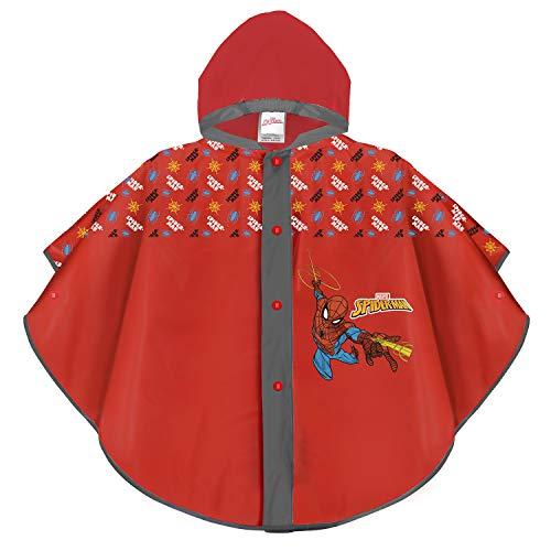 PERLETTI Mantella Pioggia Spider Man - Poncho Impermeabile Bimbo Spiderman - Antipioggia con Cappuccio e Bottoni - Due Varianti di Colore con Grafica Uomo Ragno - Materiale Eva (Rosso, 3/6 Anni)