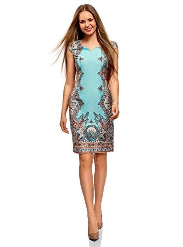 oodji Collection Damen Baumwoll-Kleid mit Ethnischem Druck, Türkis, DE 40 / EU 42 / L
