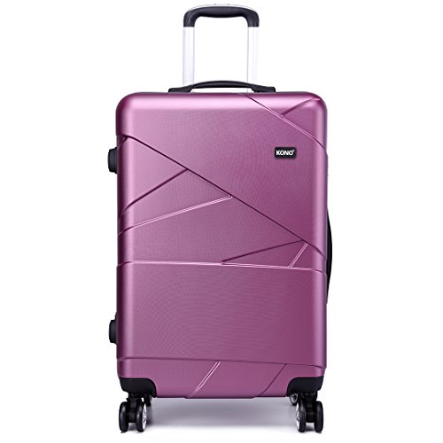 Kono Carry-on Luggage Lightweight PC Suitcase with 4 Spinner Wheel 39L (20',Purple)