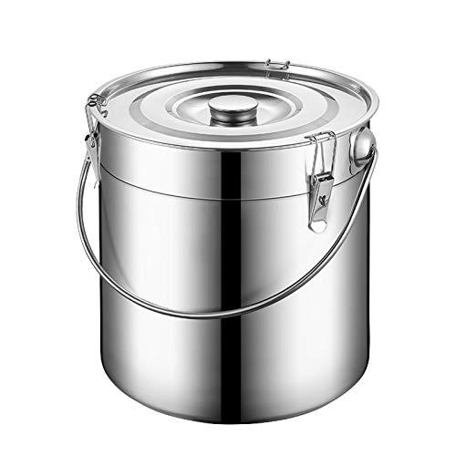 WKDZ Contenedor de almacenamiento hermético de acero inoxidable, gran harina, café, grano, té, cereales, azúcar, galletas, alimentos, recipientes de cocina (tamaño: 20 L)