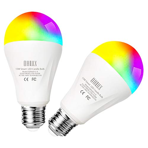 OHLUX 13W 1300Lumen Smart WiFi LED Light Bulbs Compatible with Alexa Google Home, RGBCW Multi-Color, Warm to Cool White Dimmable, 120W Equivalent E26 A19 Color Changing Bulb 2Pack