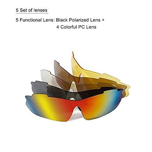 TOPSKY Professional Mountain Bike Myopia Riding Glasses Polarized Weatherproof Outdoor Sports Goggles Anti Glare Multi Running Cycling Sunglasses Changeable 5 Lenses Complete Set