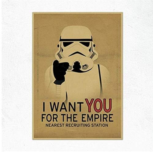 N/P Vintage Movie Star Wars Imperial Stormtrooper The Empire Soldier Poster Bar Decoración para El Hogar Pintura Retro Canvas Poster Wall Sticker 40 * 60 cm Sin Marco