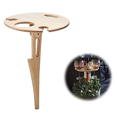 Mesa de vino al aire libre portátil plegable multifuncional madera al aire libre vidrio estante mini plegable fácil instalación llevar picnic escritorio redondo moderno pequeño patio mesa accesorio