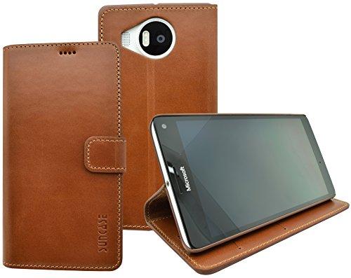 Suncase Book-Style (Slim-Fit) für Microsoft Lumia 950 XL Ledertasche Leder Tasche Handytasche Schutzhülle Hülle Hülle (mit Standfunktion & Kartenfach) cognac