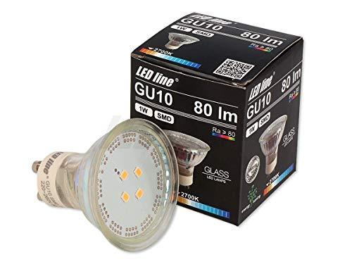 5x LED Line GU10 1W LED Leuchtmittel 120° SMD 2700K Warmweiß 80 Lumen Spot Strahler Glass Einbauleuchte Energiesparlampe Glühlampe