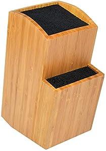 ETTU - Soporte Universal para Cuchillos sin Ranuras - 2 Bloques - Madera de Bambú - Extragrande, Dos Niveles - Almacenaje Seguro y Conveniente para Cuchillos y Utensilios Grandes y Pequeños