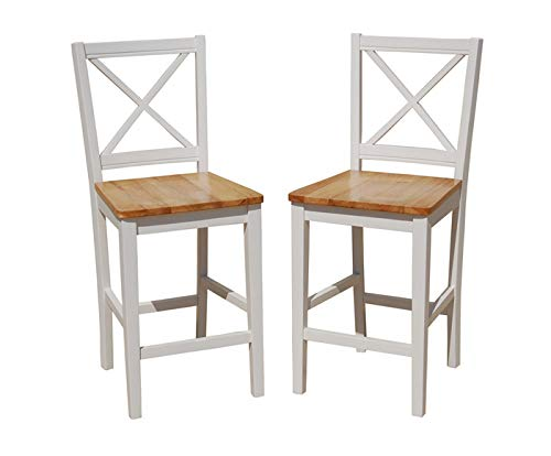 TMS 24 inch Virginia Cross Back Stools (Set of 2), White/natural