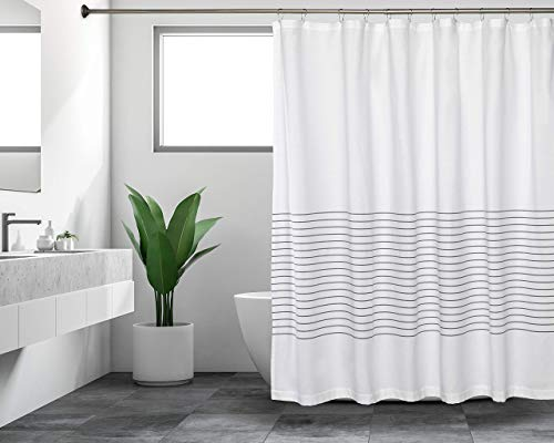 Sticky Toffee Woven Cotton Fabric Shower Curtain, 72 in x 72 in, White with Gray Thin Stripe