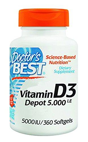 Doctor's Best, Vitamin D3 Depot, 5.000 I.E, 360 Weichkapseln, sojafrei, glutenfrei