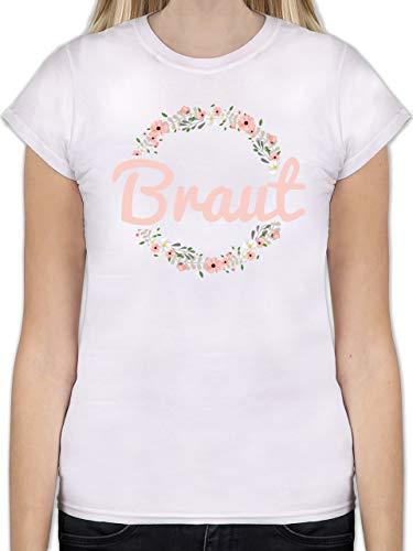 JGA Junggesellinnenabschied - Braut Blumenkranz rosa - S - Weiß - L191 - Tailliertes Tshirt für Damen und Frauen T-Shirt