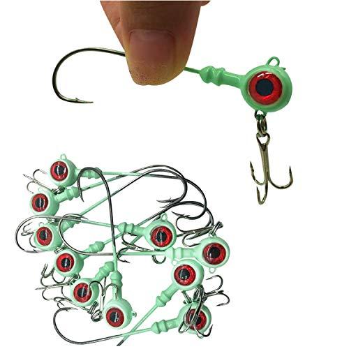 10pcs Luminous Jig Heads Hook with 3D Redfish Eye,Double Hook Design, Long Hook Body,(2/5oz, 1/4oz,1/5oz) , Sharp/ Sturdy /widely Used,1/4oz