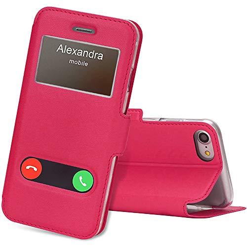 FYY Handyhülle für iPhone 8/7 Hülle (4,7 Zoll), iPhone 7 Tasche Leder Schutzhülle mit Sichtfenster Magnet Verschluss Klappbar Book Style Aufstellbar Ständer für iPhone 8/iPhone 7 Cover -Magentarot