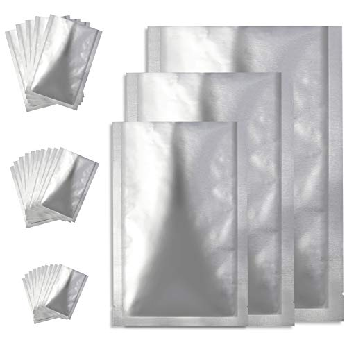 25 Pack Mylar Aluminum Foil Bags, 3 Sizes Metallic Mylar Foil Flat Vacuum Heat Sealing Bags Storage Bags for Kitchen Dry Food Coffee BeansTea (6 x 9 Inch, 8 x 11 Inch, 9.5 x 14 Inch)