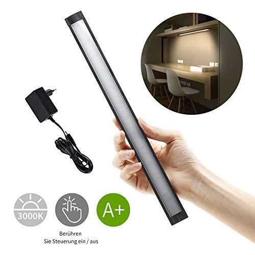 LED Unterbauleuchte Küche Berühren LED Lichtleiste Schranklampe,4.1W 30CM Küchenlampe Küchenleuchte 1.5m Zuleitung mit Stecker,Warmweiß 3000k