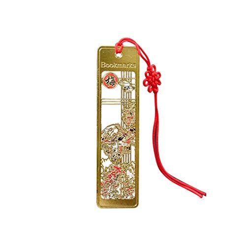 BESPORTBLE Chinesischen Stil Lesezeichen kreative Bronze Pflanze Druck Lesezeichen mit Knoten Lanyard (Pflaume)
