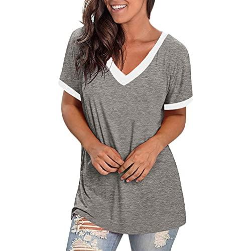 Jersey Informal De Primavera Y Verano para Mujer, Camiseta De Manga Corta Suelta con Cuello En V A Juego, Camiseta De Manga Corta para Mujer