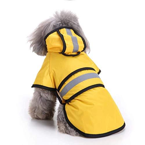 Ruiuzi Moda Reflectante Rayas Amarillo Impermeable para Mascotas días lluviosos Slicker Impermeable Ropa Cachorro Lluvia Poncho Capucha para S M L Enorme Perros Gatos