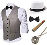 BABEYOND 1920s Mens Gatsby Gangster Vest Costume Accessories Set Fedora Hat (Gray, X-Large)