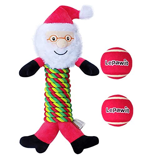Lepawit 3 Pack Christmas Dog Rope Toy, Santa Claus + 2 Balls, Sturdy Rope Squeaky Toy for Dogs, Dog Chew Toy for Medium, Large Dogs Outdoor Interactive Dog Toys