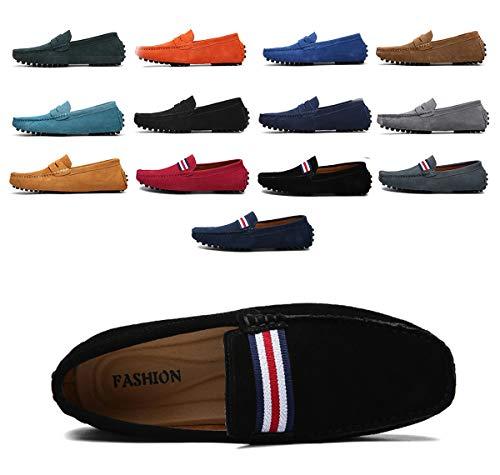 AARDIMI Herren Mokassins Bootsschuhe Wildleder Loafers Schuhe Flache Fahren Halbschuhe Beiläufig Slippers Hausschuh (41, Schwarz)