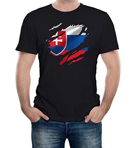 Reality Glitch Herren Torn Slovakia Flag T-Shirt (Schwarz, X-Large)