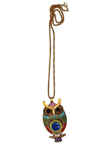 Purpledip halsketting met lange ketting en kleurrijk versierd Funky metalen uil hanger (art) 30071