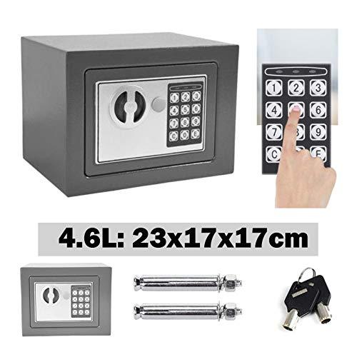 Tresor Klein Elektronischer Safe Minisafe Wandtresor Mini Tresor Stahlsafe Möbeltresor Wandsafe Elektronikschloss 2 Schlüssel -4.6L (Grau)