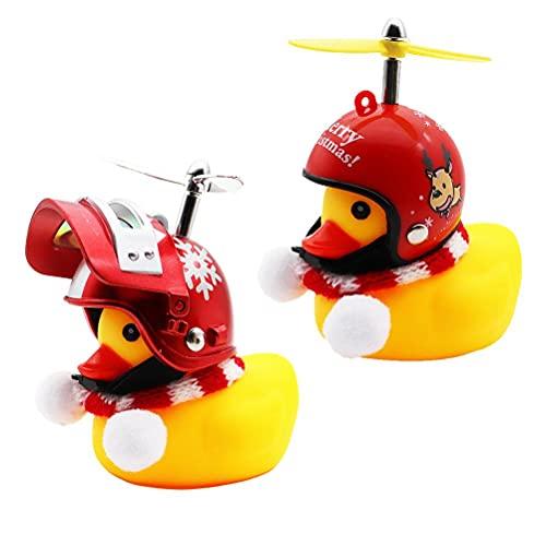 ABCDJHH Decoraciones de Coche de Pato, 2 Piezas de Juguetes de Navidad, Juguetes de Pato para decoración de Coche, Campana de Bicicleta Pato con Casco y hélice de Pato para Bicicleta para niños