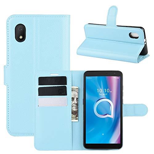 BEIJING  PROTECTIVECOVER+ / for Alcatel 1b (2020) Litchi Texture Horizontal Flip Funda Protectora con Soporte y tragamonedas y Billetera, Fashion Phone Funda para Protector (Color : Azul)