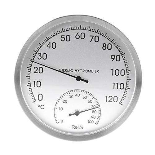 PUGONGYING Popular 127mm 5' Thermometer Hygrometer Wall Hung Stainless Steel Indoor Outdoor Sauna Room Temperature Humidity Tester Monitor durable