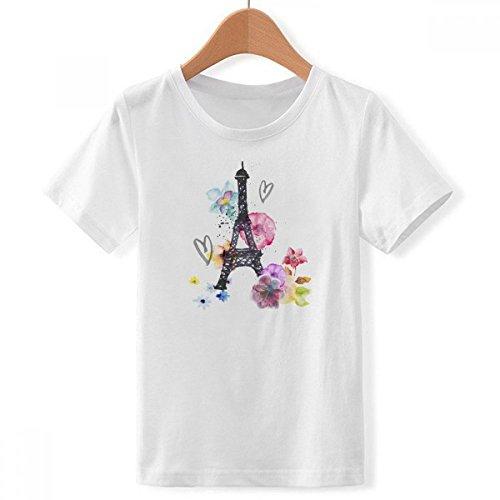 DIYthinker En Forma de corazón Torre Eiffel Cuello Redondo France Camiseta para Chico Multicolor X-Grande
